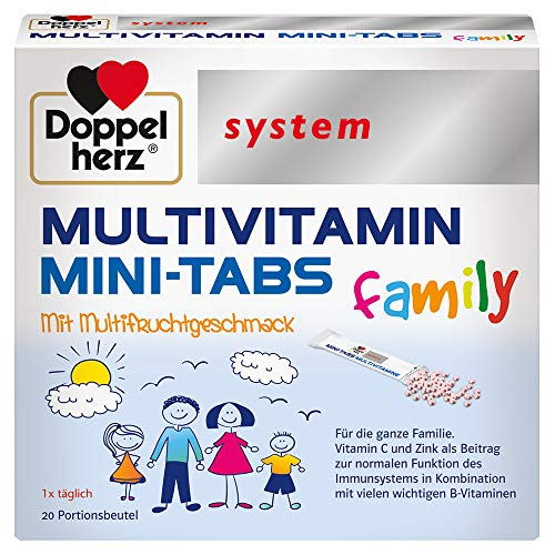 Doppelherz system MULTIVITAMIN MINI-TABS family – Nährstoffe für die ganze Familie – Vitamin C und Zink für das Immunsystem – 20 Portionsbeutel