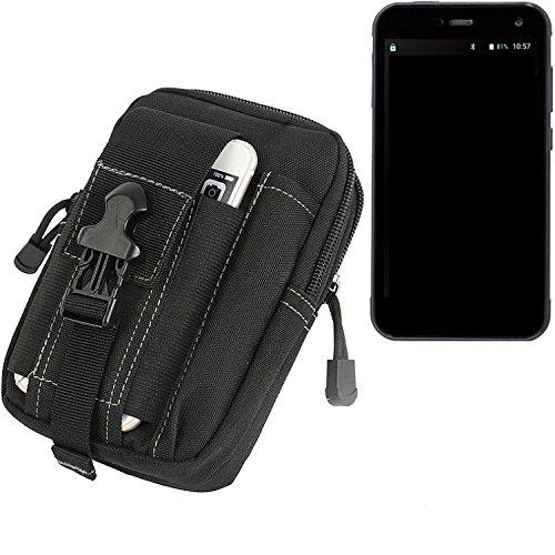 K-S-Trade Gürtel Tasche Für Cyrus CS 28 Gürteltasche Holster Schutzhülle Handy Hülle Smartphone Outdoor Handyhülle Schwarz Zusatzfächer