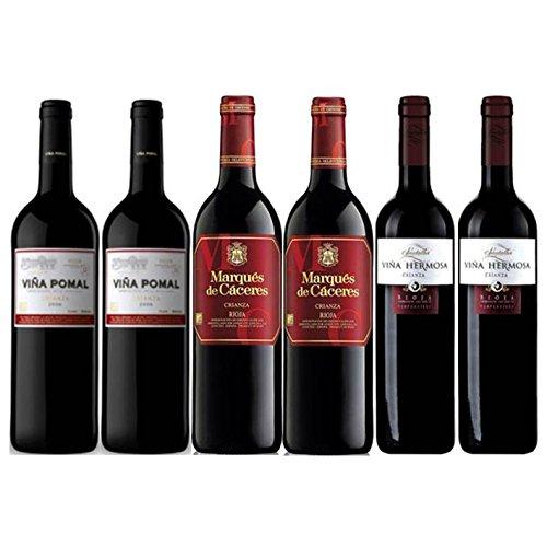 Pack Vino Rioja Clasicos Crianza 6 botellas. 2 Viña Pomal Crianza, 2 Marqués de Cáceres Crianza y 2 Viña Hermosa Crianza