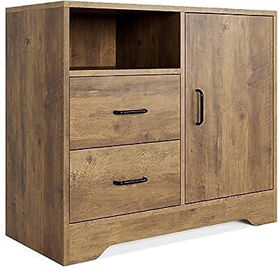 GRAN CAPACIDAD DE ALMACENAMIENTO: El gabinete del piso le ofrece 2 cajones 1 puerta y 1 estante abrieto para su organización y almacenamiento. También la mesa superior se puede colocar lámparas de mesa, Bluetooth e impresoras. MULTIFUNCIONAL: El tama...