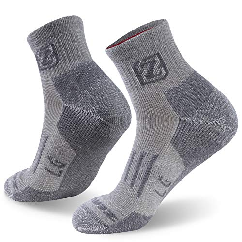 ZEALWOOD Merino Wool Ankle Athletic Socks Warm Insulated Heated Thermal Crew Hiking Socks Cycling Socks Running Socks for Men Women Winter Crew Socks for Extreme Cold Weather Socks,1 Pair-Grey,Large