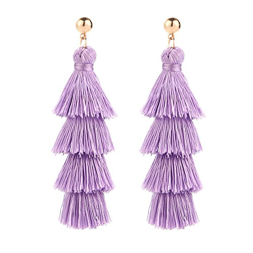 BaubleStar Fashion Gold Tassel Dangle Earrings Layered Long Bonita Tiered Lavender Purple Thread Tassel Drop Statement Jewelry for Women Girls