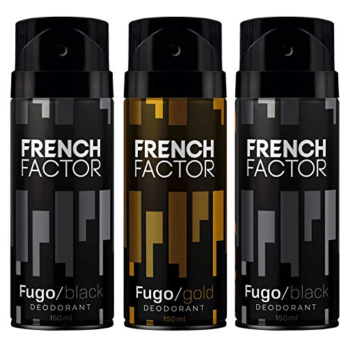 The French Factor Fugo Black Deodorant 2 x 150ml & Fugo Gold Bodyspray 150ml (Pack of 3)