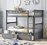 Literas gemelas con dos camas individuales, doble litera con cajones de almacenamiento, litera de madera con ferrocarril de seguridad ...