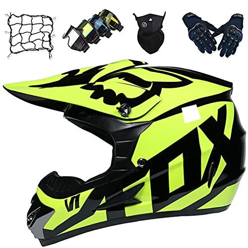 Casco Motocross Niños, Juego de Cascos de Motocicleta para Adultos (5 piezas), Cascos de Choque de Motocicleta Todoterreno para Jóvenes para Dirt Bike MX - con Diseño Fox - Amarillo Mate