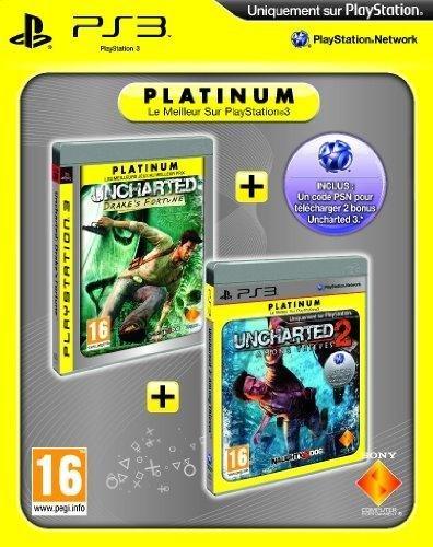 Uncharted Drake's fortune platinum + Uncharted 2 : among thieves platinum + code bonus PSN