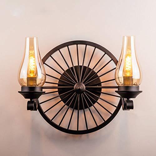 Industriel antique lampe de mur intérieur noir mur 2-lumières métal verre abat-soleil E27 appliques conception roue pour salle de séjour chambre à coucher couloir café décoration éclairage