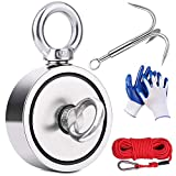 EVISWIY Magnet Fishing Kit 960LBS with Rope Carabiner Grappling Hook Glove Large Strong Heavy Duty Rare Earth Neodymium N52 Double Sided Magnets for Magnet Fishing Underwater Retrieving