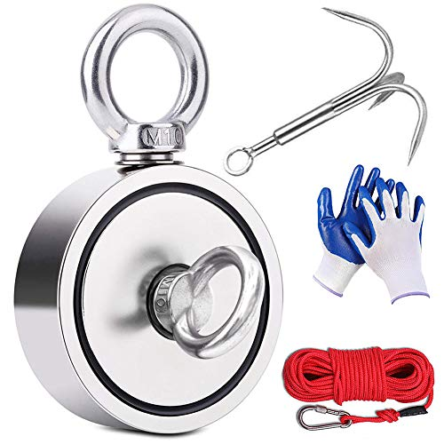 EVISWIY Magnet Fishing Kit 960LBS with Rope Carabiner Grappling Hook...