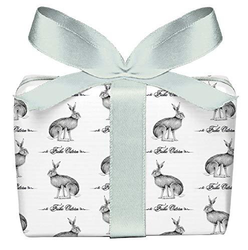 5er Set 5 Bögen Geschenkpapier mit Feldhase, Osterhase zu Ostern für ihre Ostergeschenke gedruckt auf PEFC zertifiziertem Papier, 50 x 70 cm