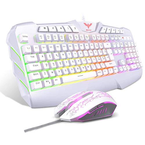 havit Tastiera e Mouse da Gioco Filo Gaming Tastiera e Mouse Impostati con Luce LED, 4 Livelli DPI, 8 Tasti Multimediali e 19 Tasti Anti-ghosting 7 Diversi Colori, per PC (Layout Italia Bianco)