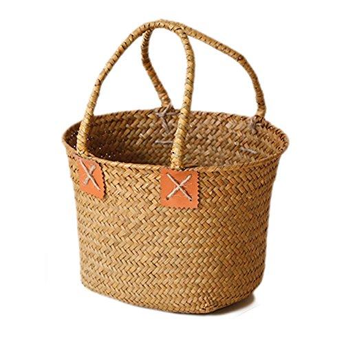 Hete-supply natuurlijke geweven zeegras Tote buik mand stro mand met handvatten, met de hand geweven opvouwbare plant pot Wasserij mand voor opslag, Wasserij, picknick, Plant Pot Cover, Flower Pot Beach Bag