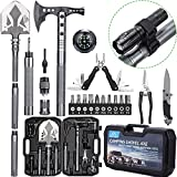 Camping Survival Shovel Axe, BANORES Outdoor Camping Survival Multitool Kits with High Carbon Steel Camping Shovel Axe Combo Kit for Camping, Hiking, Backpacking, Emergency