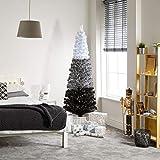 The Winter Workshop - Árbol de Navidad artificial de fibra óptica de 150 cm, 185 puntas de ramas blancas y 37 LED de color blanco cálido.
