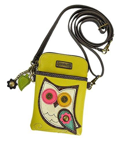 Chala Crossbody Cell Phone Purse - Women PU Leather Multicolor Handbag with Adjustable Strap - Owl - Mustard Yellow