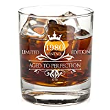 1980 40th Birthday Whiskey Glass for Men and Women - Vintage Funny Anniversary Idea for Him, Her,...