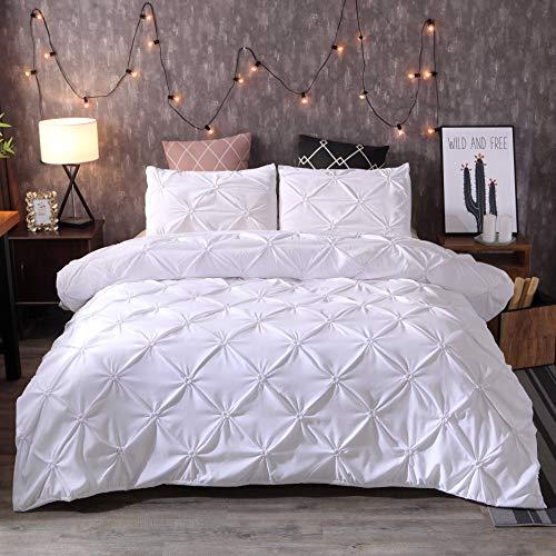 BBUY Ropa de cama de un solo color, 220 x 240 cm, plisada, estilo nórdico, funda de edredón y funda de almohada (blanco, 220 x 240 cm)