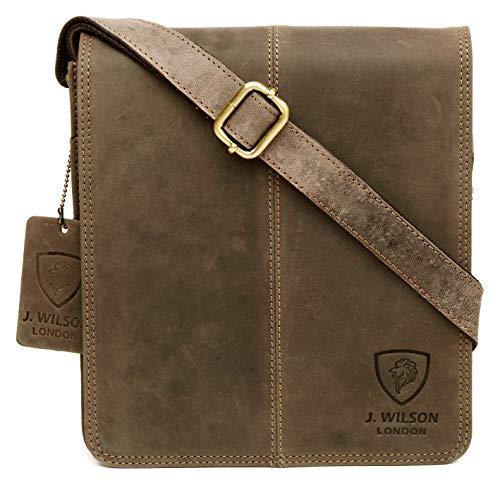 100% Pure Genuine Real Vintage Hunter Leather Handmade Mens Leather Flapover Everyday Crossover Shoulder Work Tablet Messenger Bag (Distressed Brown)