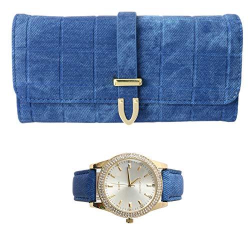 Set regalo da donna con orologio e portafoglio, colore: blu denim