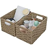 GRANNY SAYS Hand-Woven Storage Baskets with Cut-out Handles, Seagrass Wicker Baskets for Organizing, Rectangle Decorative Baskets, Large, 13' x 8.3' x 7.1', Set of 2