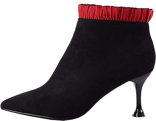 HBDLH Chaussures pour Femmes La Mode Dentelles La Hauteur du Talon 7Cm Bottes Hiver Sexy Pointu Maigre Talons Martin Velveted Slim Bottes Bottines