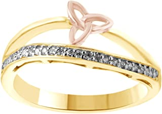 AFFY White Natural Diamond Two-Tone Trinity Knot Bow Band Ring in 14k Solid Gold (0.12Ct, I-J Color)