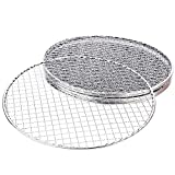 Vwlvrsco BBQ Pan, BBQ Gril,l 5Pcs/Set Round Disposable BBQ Grill Rack Roast Net Grate Barbecue Baking Pan for Barbecue Grill, Outdoor Barbecue,Camping Silver 28cm