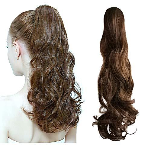 Ealicere 1 Stück Perücke Pferdeschwanz Haarteil Zopf,lockig Ponytail Extensions Haarverlängerung,Brown