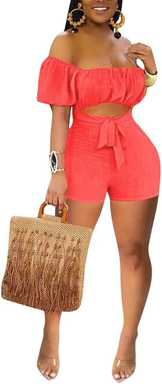 ECHOINE Women Summer One Piece New product!! Off Romper Oakland Mall Sleeve Short Shoulder