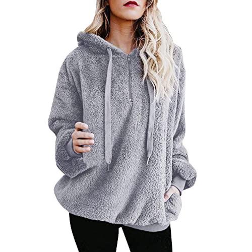 Chejarity Sudadera con capucha de forro polar para mujer, con capucha, para Navidad, larga, otoño, exterior, de gran tamaño, de punto, gris, M