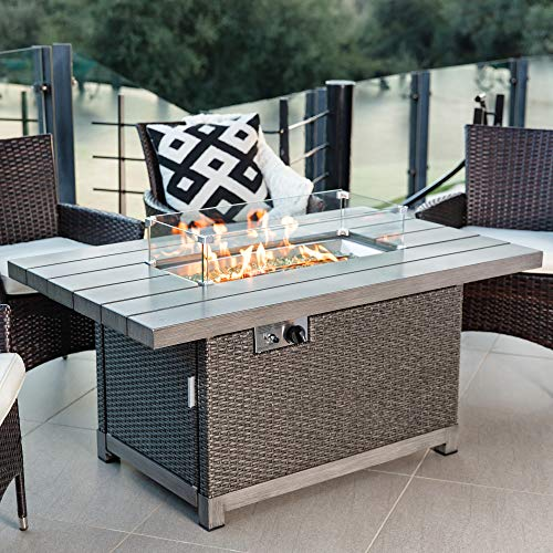 Best Choice Products 52in 50,000 BTU Wicker Propane Fire Pit Table w/Aluminum Tabletop, Glass Wind Guard, Storage Cover, Glass Beads, Easy Access Tank Cabinet