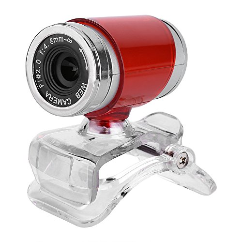 T best HD Webcam Camera, Clip-on 360 Degree USB 12 Megapixel HD Webcam Web Camera with Microphone for PC (Red+Sliver)