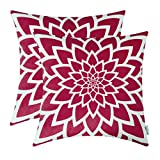 TEAGAN Throw Pillow Covers, 2PCS Cushion Covers with Flower Print, Throw Pillow Covers for Home Decorative Bedroom Living Room, Home Garden Couch Bed Sofa Chair, 18X18 Inch, Deep Red
