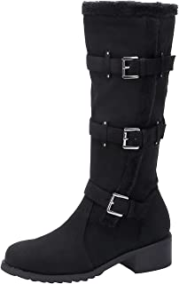 Womens Wide Calf Knee High Boot Winter Riding Boots Fashion Side Zipper Tall Booties with Adjustable Buckles