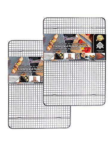 Cooling, Roasting & Baking Racks fit Standard Half Sheet Pans - Heavy Duty 304 Stainless Steel Wire Racks Dishwasher & Oven-Safe for Cooking, Smoking, Grilling - Rust Proof (11.8' x 16.9' Set of 2)
