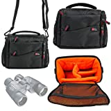 <span class='highlight'><span class='highlight'>DURAGADGET</span></span> Large Padded Double-Zip Holdal Case with Adjustable Shoulder Strap - Compatible with Olympus 8x40 DPSI Binocular | 8-16x40 Zoom DPS I Binocular