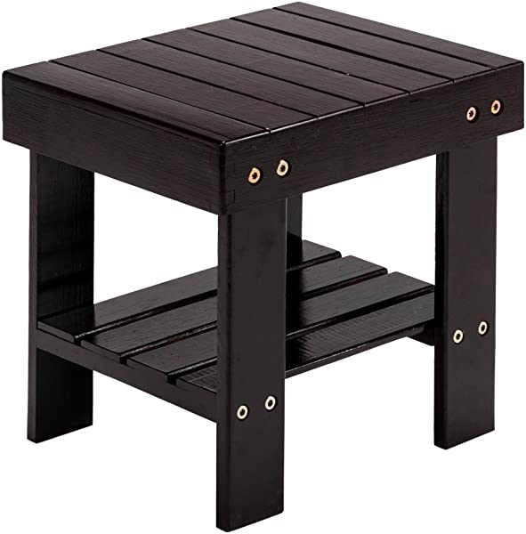 Teeker Small Bamboo Step Stool For Kids 10 Inch High Multi Functional Wooden Stool Seat Foot Rest Ideal For Entryway Foyer Hallway Garden Coffee