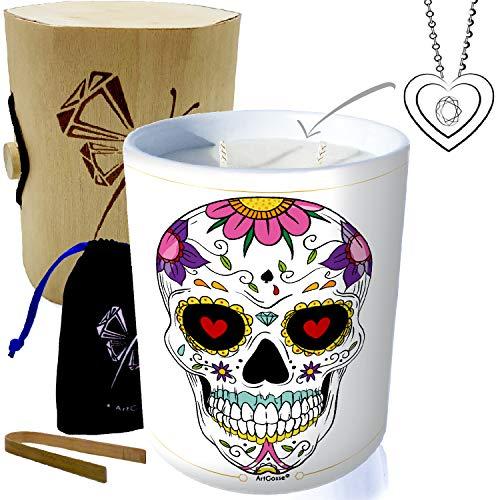 ArtGosse Edition Especial calavera mexicana • Vela con joya de plata decorada con cristales de Swarovski® • Perfume de Pina Colada • Caja de regalo