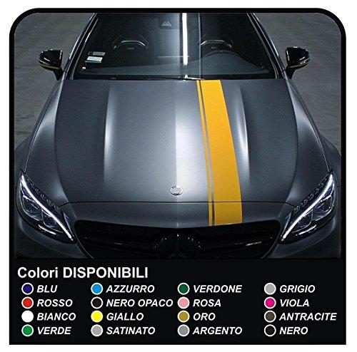 Aufkleber Motorhaube Motorhaube Streifen Aufkleber alle kompatiblen Sport Motorhaube Aufkleber Set Streifen universal (ROT)