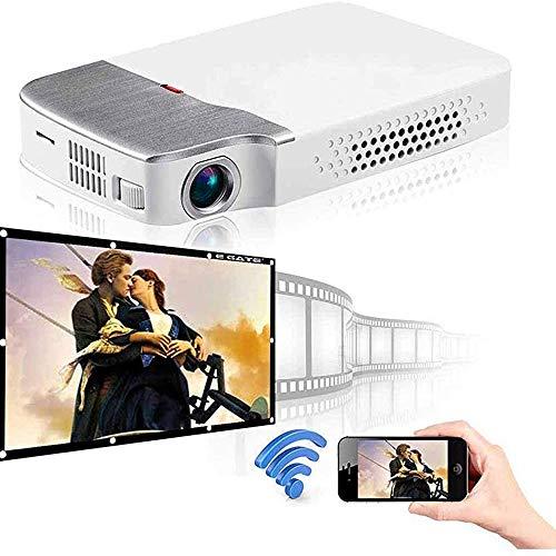 DHINGM Inicio proyector de Alta definición proyector, el pequeño Mini WiFi 4K 1080p HDMI Inteligente sin la Pantalla de la TV por la Hospitalidad del Teatro, Blanca