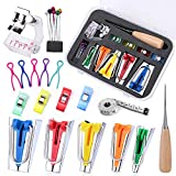 Bias Tape Maker Kit, 6mm/9mm/12mm/18mm/25mm Bias Tape Makers with Instructions, Awl, Binding Foot, Ball Pins, Bias Binding Maker for Quilting Sewing DIY