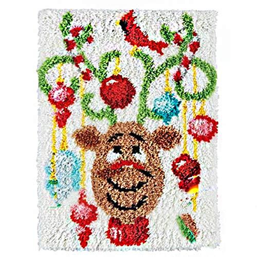 Kit para cojín de Ganchillo de Alfombra, Alfombra Bordado Lo Hace Usted Mismo Punto De Cruz DIY Alfombras La Decoración del Hogar, Multicolor,Elk,105cm/41.3inch