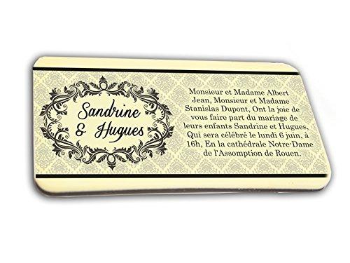 CARTE D'INVITATION en chocolat thème ARABESQUE personnalisée avec votre texte - pour baptême mariage communion - invitation en chocolat design et moderne noir et blanc