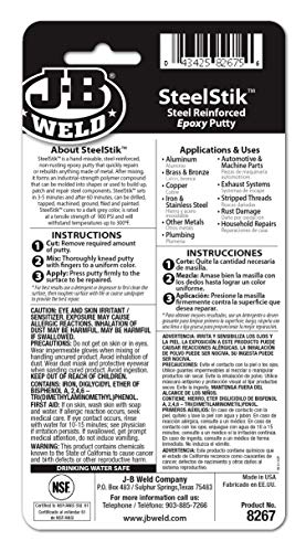J-B Weld 8267-S SteelStik Steel Reinforced Epoxy Putty Stick - 2 oz