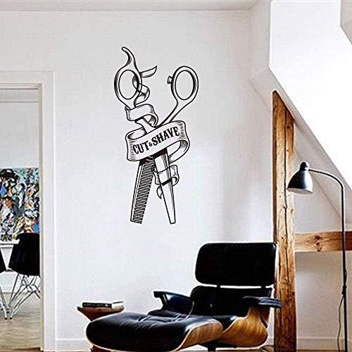 Peluquería tijeras peine corte afeitado ventana pared pegatina peluquero peluquero salón tienda pared calcomanía vinilo decoración 27x56cm