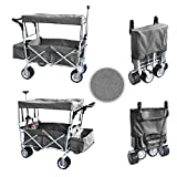 Grey Jumbo Wheel Push and Pull Handle Folding Wagon All Purpose Garden Utility...