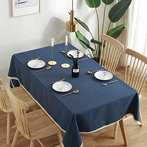 Tablecloth Printed Waterproof Oil-Proof Anti-scalding Table Cloth PVC Rectangular Table Mat Modern Furniture Covers-Navy_140260cm