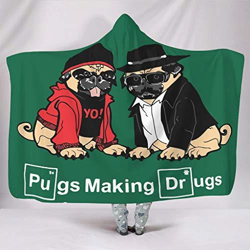 Vrnceit Pugs Make Drugs Zacht verschillende patronen draagbare spreien met capuchon vierkant dekbed voor het hele jaar door slaapbank in koud weer zonneschijn stijl