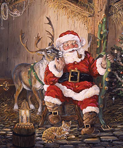 Christmas Memories Time to Go Santa Claus Panel from Riley Blake 100% Cotton Quilt Fabric P8692R-TIME 36' x 42'