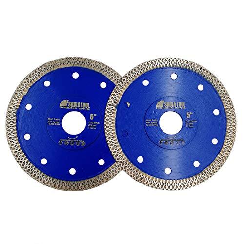 SHDIATOOL Disco Diamantato 2 Pezzi 125mm con X Mesh Turbo per Porcellana Piastrella Ceramica Granito Marmo